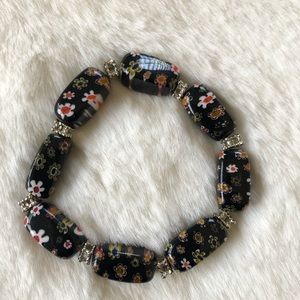 Jewelry - Handcrafted Painted Glass Beads Stretchy Bracelet.